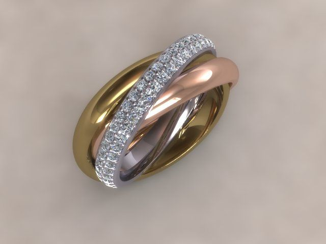 30/08/2013 - Today's 'ring' is designed in the style of a Russian Wedding Ring,with yellow and rose gold set with diamonds. - Unlike traditional British wedding rings there are three interlocking bands included a diamond set band. Would you prefer this or a plain wedding ring band?