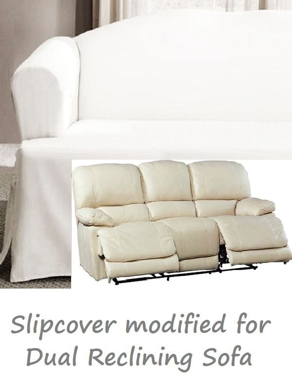 Dual Reclining Sofa Slipcover T Cushion White Cotton Sure Fit