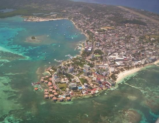 San Andrés island seen from the plane