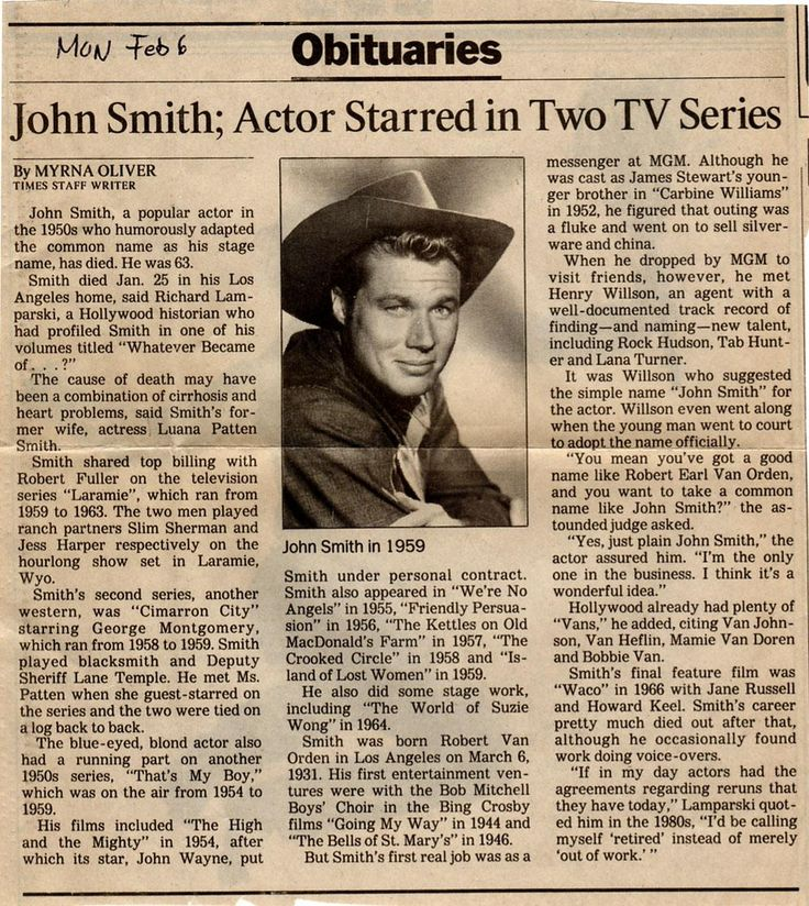 John Smith died of cirrhosis and heart problems January 25, 1995 at the age of 63.  His obituary was carried in the Los Angeles Times of February 6.