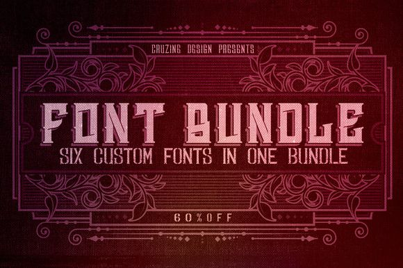 Check out 6 Custom Fonts in 1 Bundle - 60% OFF by Cruzine on Creative Market #sale #fonts