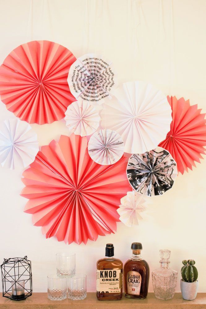 DIY Papier Rosetten-Papierfächer selber basteln