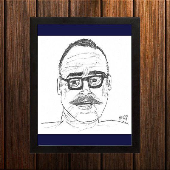 Dalton Trumbo - Sketch Print - 8.5x9 inches - Black and White - Pen
