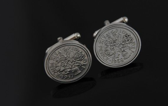 Cufflinks in Vintage. Old English sixpence by worldcoincufflinks, $69.00