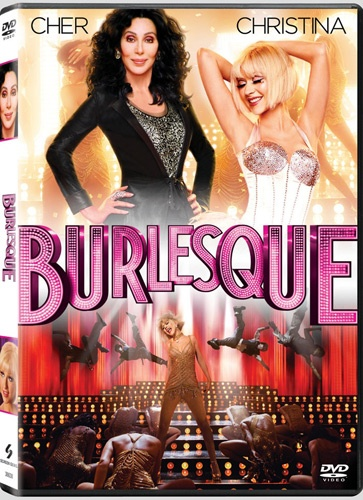Cher and Christina Aguilera featured on Burlesque movie poster.