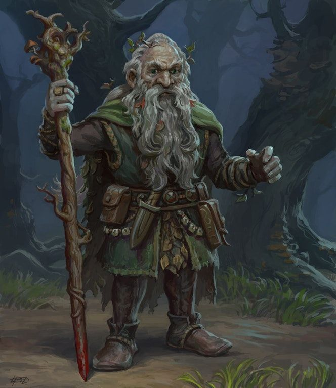 [OC][ART]New character for upcoming big game - Elarion the Dwarf wandering Druid : DnD