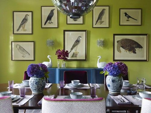 Katie Ridder Rooms // chartreuse walls, blue buffet & plum dining chairs  // dining room #chartreuse