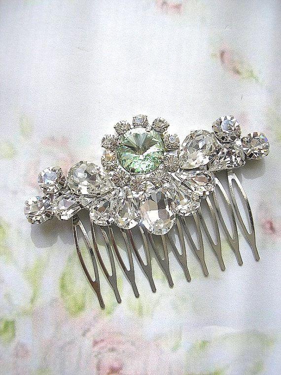 mint green wedding hair comb wedding hair by Hinuma on Etsy, $42.00