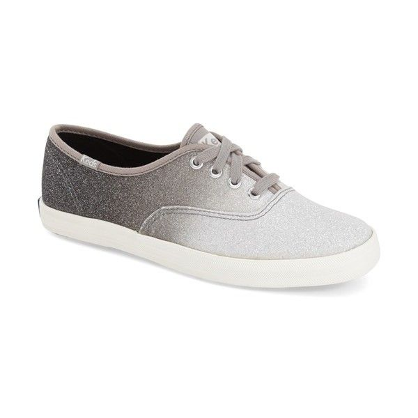 Keds 'Champion - Ombre Glitter' Sneaker featuring polyvore, fashion, shoes, sneakers, grey glitter, lacing sneakers, keds footwear, rubber sole shoes, grey sneakers and laced shoes