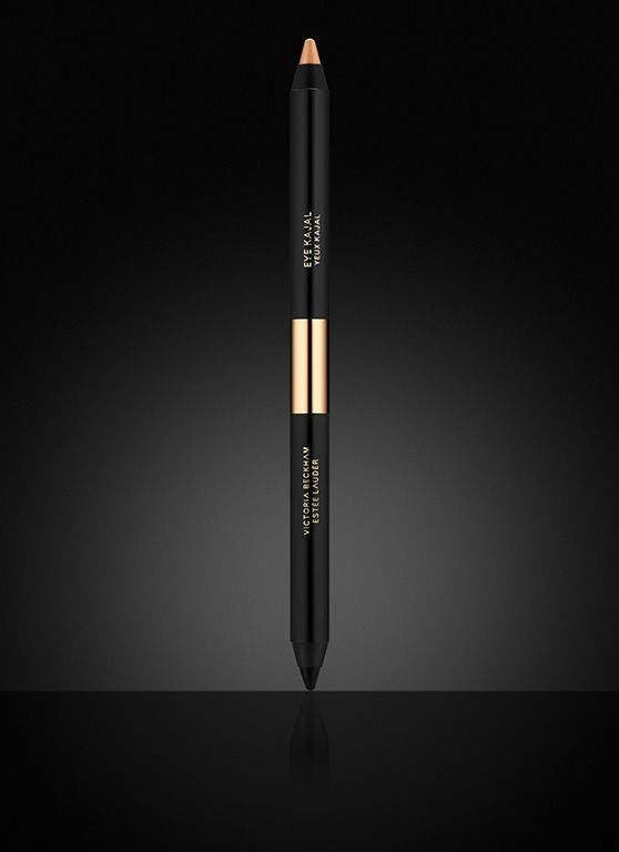 """Victoria Beckham Estée Lauder, Eye Kajal -  Darkness meets light.  This double-ended, exceptionally soft and creamy eyeliner offers both a potent black pencil and an eye-opening nude for a sexy, smudgy, """"imperfect"""" look.   For day, line the inner lid with Vanille. For night, edge eyes in Black Saffron."""