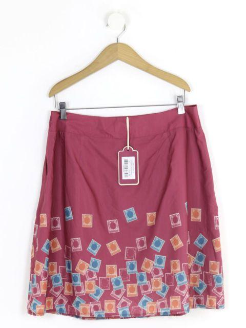 BNWT Ness Womens Bordeaux Dragonfly Stamp Border Print Skirt Size 16