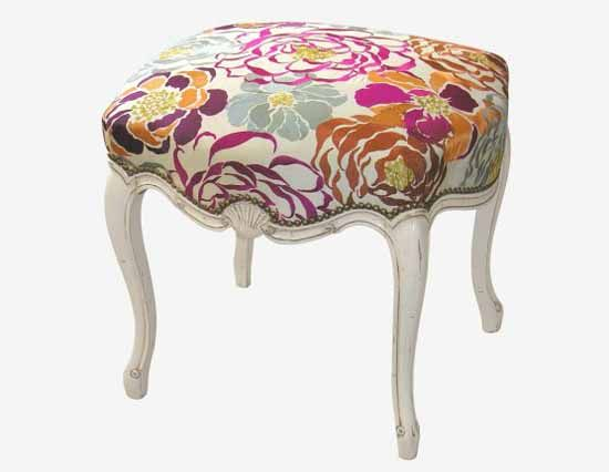 Floral patterns for retro decor, vintage furniture upholstery fabric print in bright rich colors