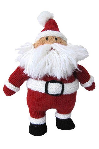 "Hearty Holiday Santa - Free Knitting Pattern. Designed by Michele Wilcox for Universal Yarn FINISHED MEASUREMENTS Height: 14"" MATERIALS Universal Yarn Uptown Worsted (100% anti-pilling acrylic; 100g/180 yds) • 312 Race Car Red (MC) – 1 ball • 302 White Glow (CC1) – 1 ball • 324 Black (CC2) – 1 ball • 335 Acorn (CC3) – 1 ball Needles: US Size 7 (4.5 mm) or size needed to obtain gauge Notions: US Size H-8 (5 mm) crochet hook (for fringe), yarn needle, polyester fiberfill, red crayon (for…"