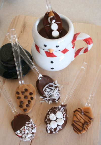 Love this chocolate dipped spoon idea for hot beverages. Could tuck them into gift baskets at Christmas time, too.