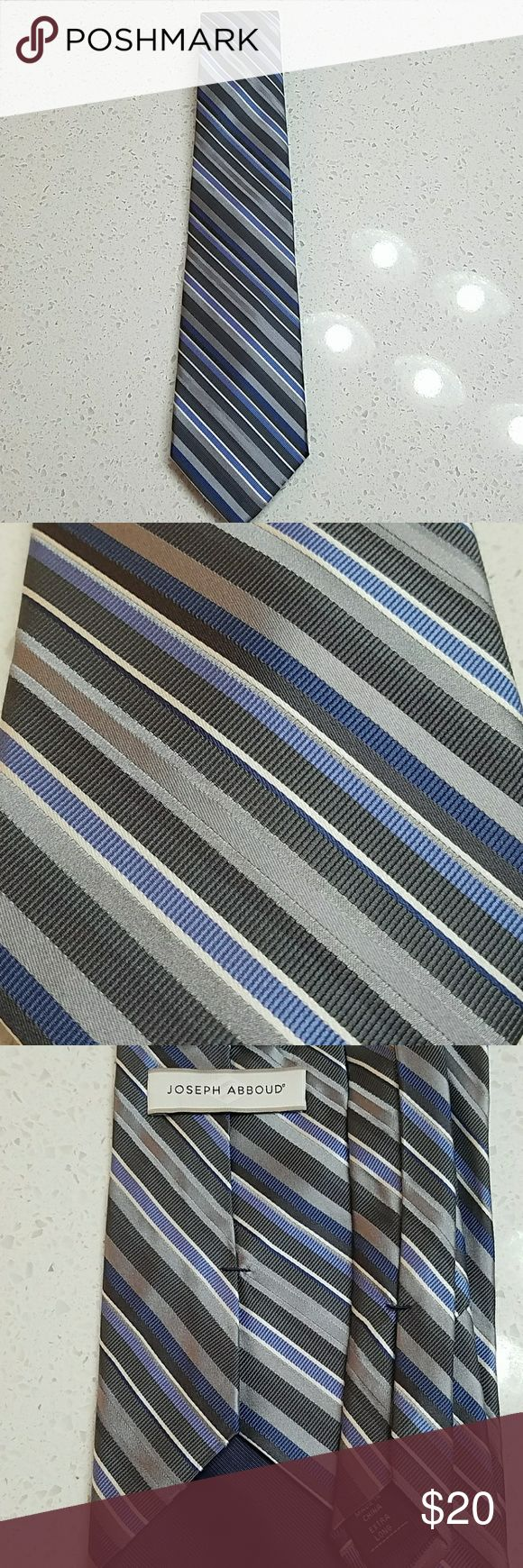 Joseph Abboud Extra Long Tie Dark grey, light gray, blue, white diagonal stripe. Silk. Joseph Abboud Accessories Ties