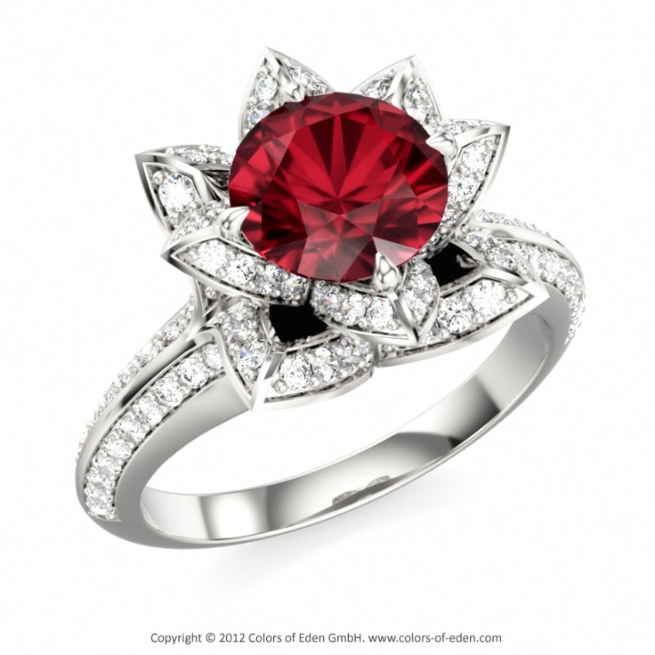 designer ruby engagement ring lotus flower royal engagement ring - Ruby Wedding Rings