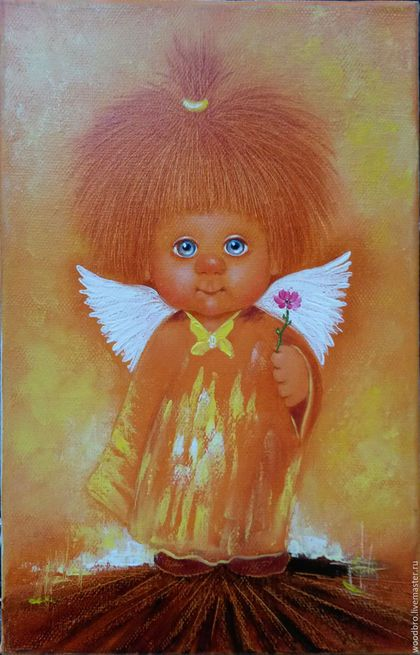 """Люди, ручной работы. Ярмарка Мастеров - ручная работа. Купить """"Солнечный ангел"""". Картина маслом.. Handmade. Картина в подарок"""