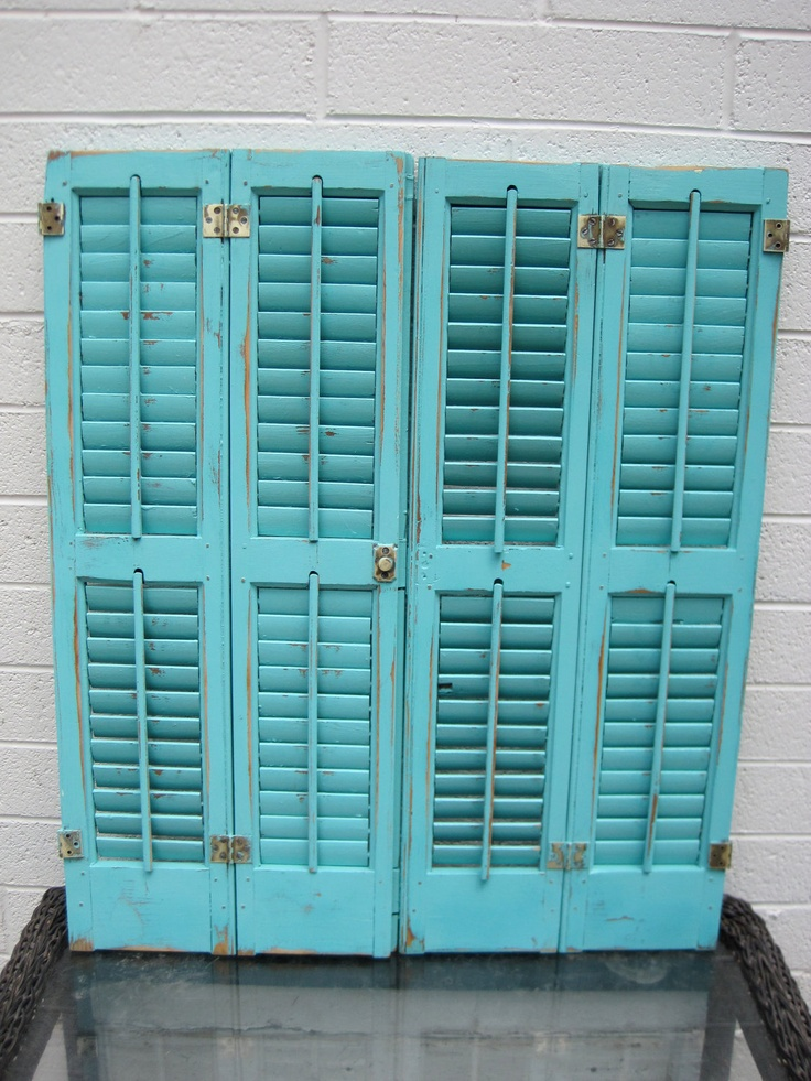 Two Distressed Turquoise Shutters Antique Shabby Teal Home