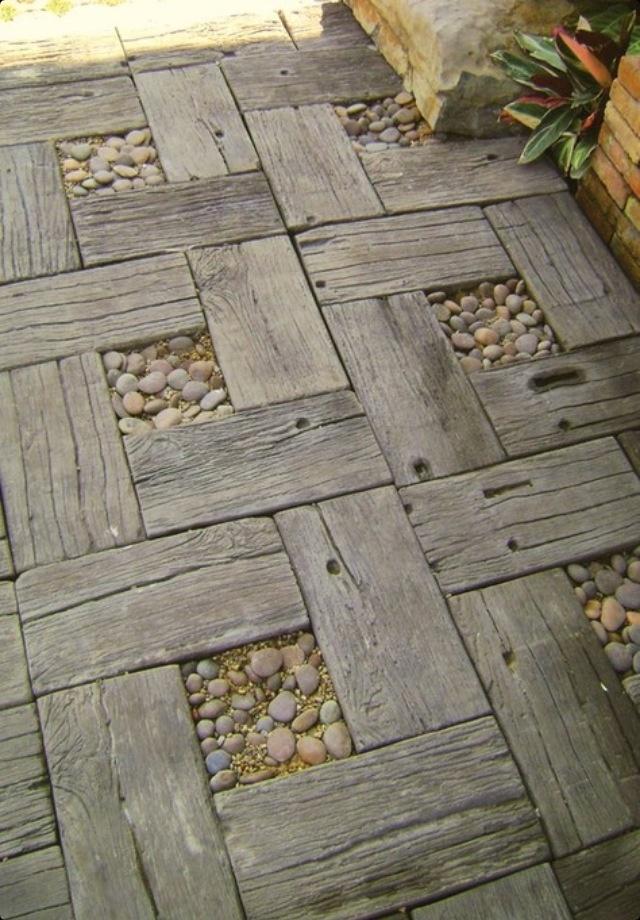 Pode fazer como piso de jardim q fica show de bola.
