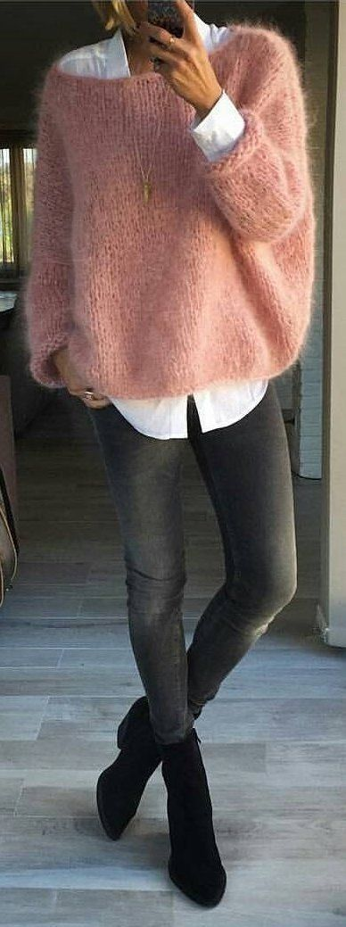 I like this cozy pink fluffy sweater with white formal shirt
