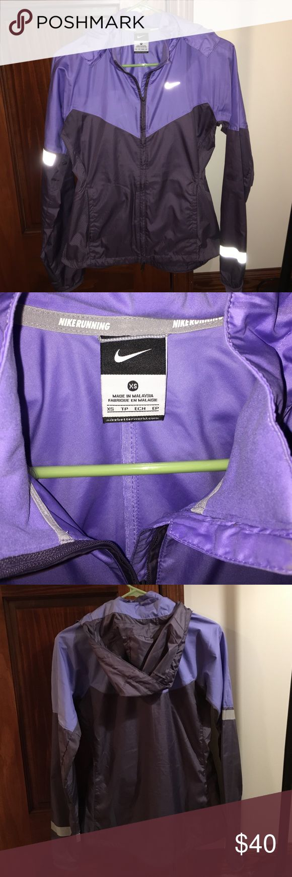 💜Shades of purple Nike running jacket- XS Nike running jacket🏃🏼♀️ Super light weight. Shades of purple. Removable hood. In great condition! Only worn a few times. Size XS💜 Nike Jackets & Coats