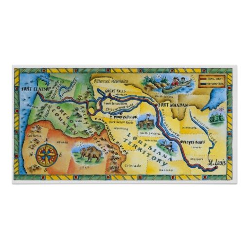 Lewis and Clark Expedition Map Print