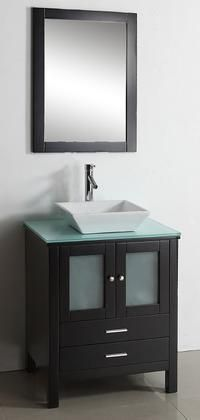 """Brentford 28"""" MS-4428-G-ES Single Sink Bathroom Vanity in Espresso Finish with Tempered Glass Countertop Matching Framed Mirror 2 Doors 2 Doweled Drawers and Brushed Nickel Hardware"""