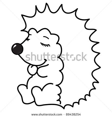 cute little hedgehog sitting with closed eyes, cartoon, line art, coloring by kvitka, via Shutterstock