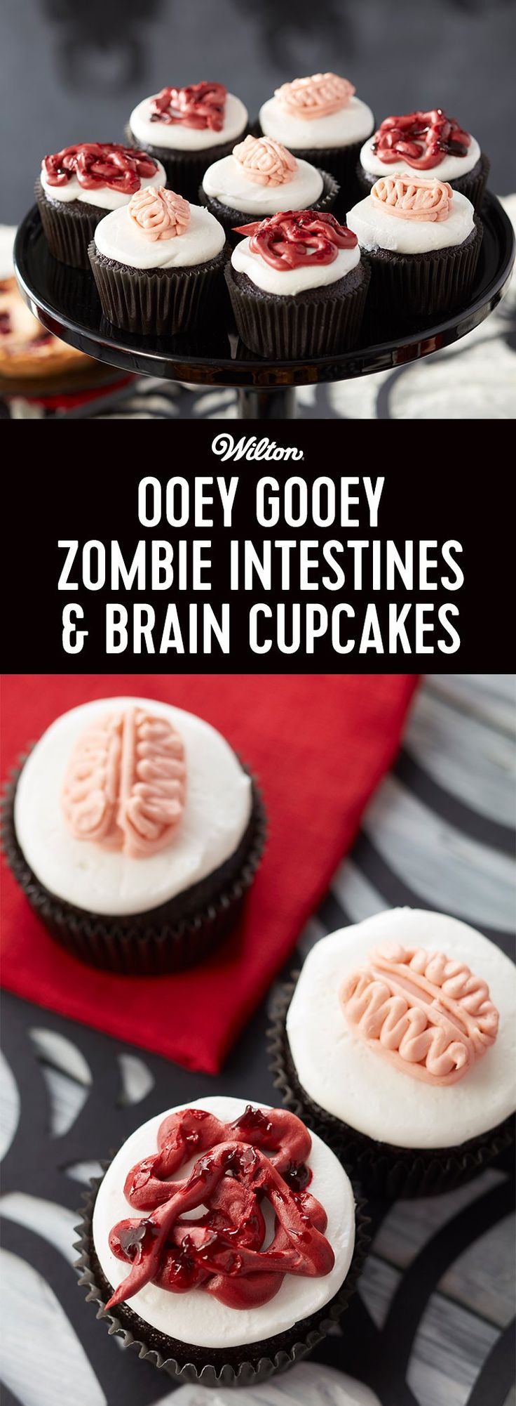 How to Make Zombie Cupcakes - A little squeamish yet yummy, these cupcakes are topped with oozy intestines and squishy brains for a Halloween dessert that's more than scream-worthy. Best of all, they are oh so easy to make!