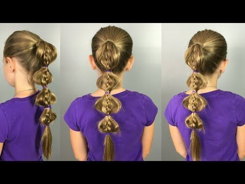 Tresse à bulles 4 fils || Quick & Easy Back to School Hair Comment faire une vidéo Tuto #bubbles #hairstyle #threads #quick #school -
