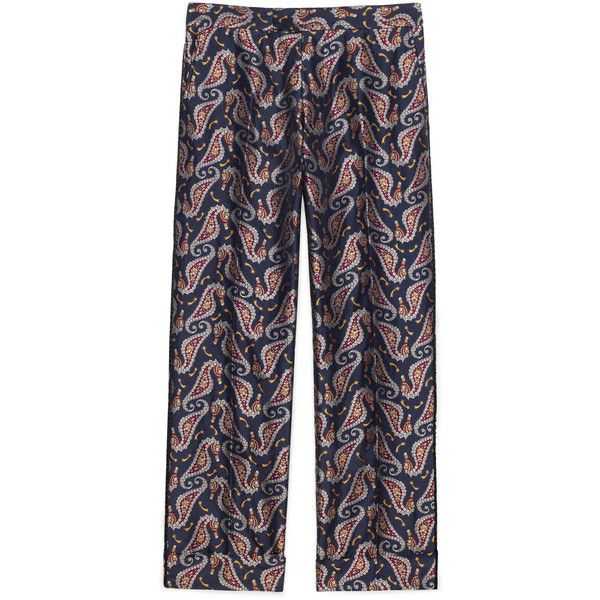 Gucci Seahorse Jacquard Evening Pant ($1,350) ❤ liked on Polyvore featuring men's fashion, men's clothing, men's pants, men's casual pants, blue, mens cuffed pants, mens holiday pants, mens blue pants, mens cord pants and mens summer pants