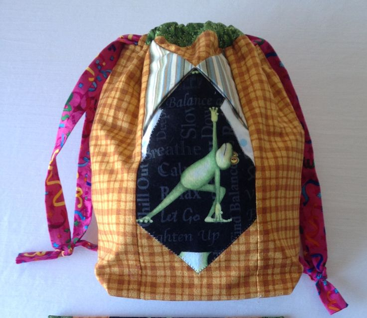 Chill Out Frog - TAAT- Project Bag for Knitting Two At A Time à la SockSack - Ramona Rose by QuiltMoxie on Etsy