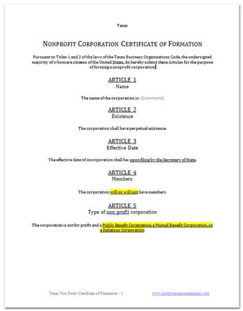 Certificate of Formation Texas
