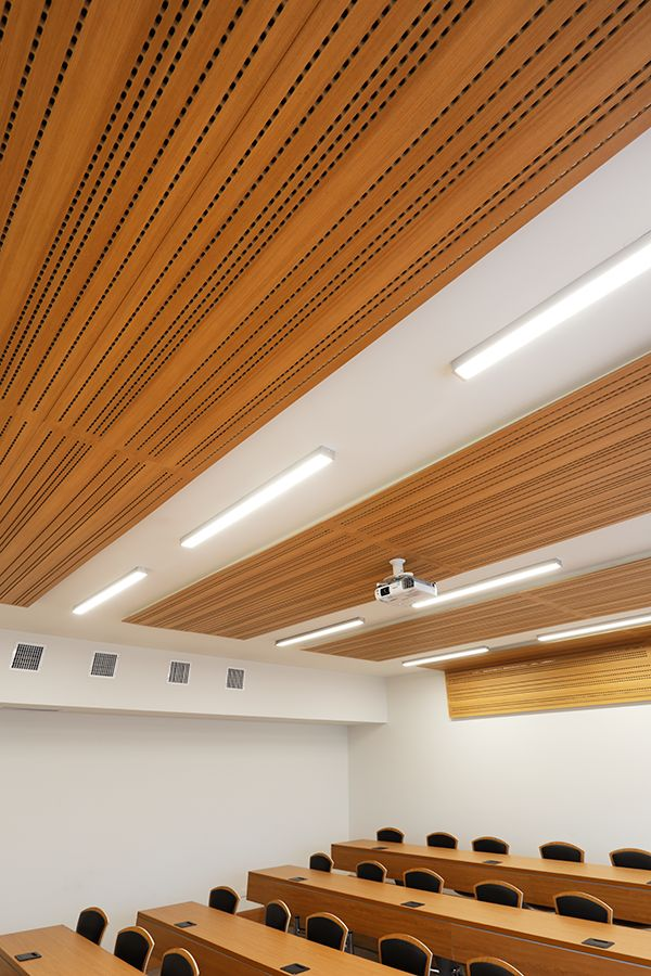 Revestimiento acústico aplicado en los cielos de algunas salas de clases de la Universidad San Sebastián en Chile.