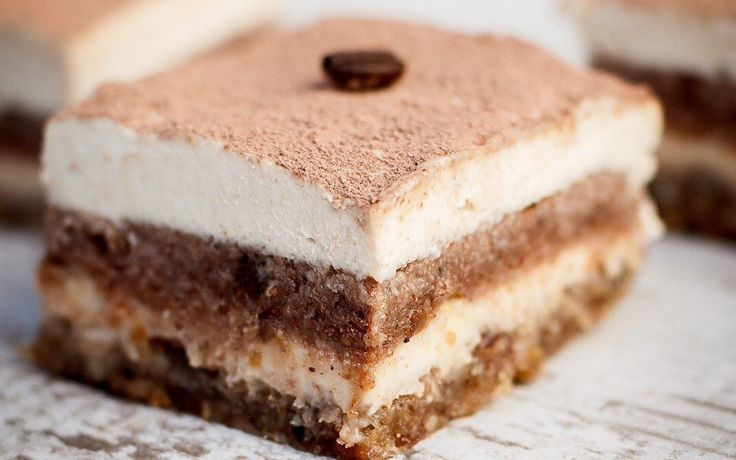 "<p>This raw tiramisu is made with crumbly almond-cold-pressed coffee ""lady-fingers"" and a rich cashew cream layered in between,</p>"