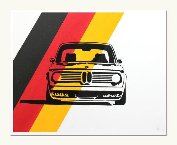 Classic Car Print  BMW 2002 Turbo  German Colors - Love this print