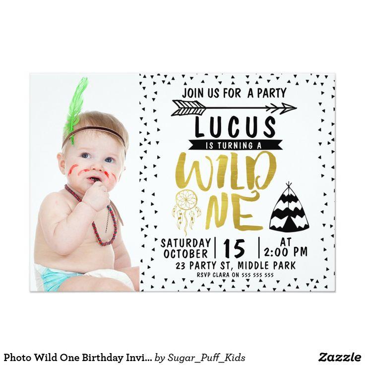 Photo Wild One Birthday Invitation For Boy