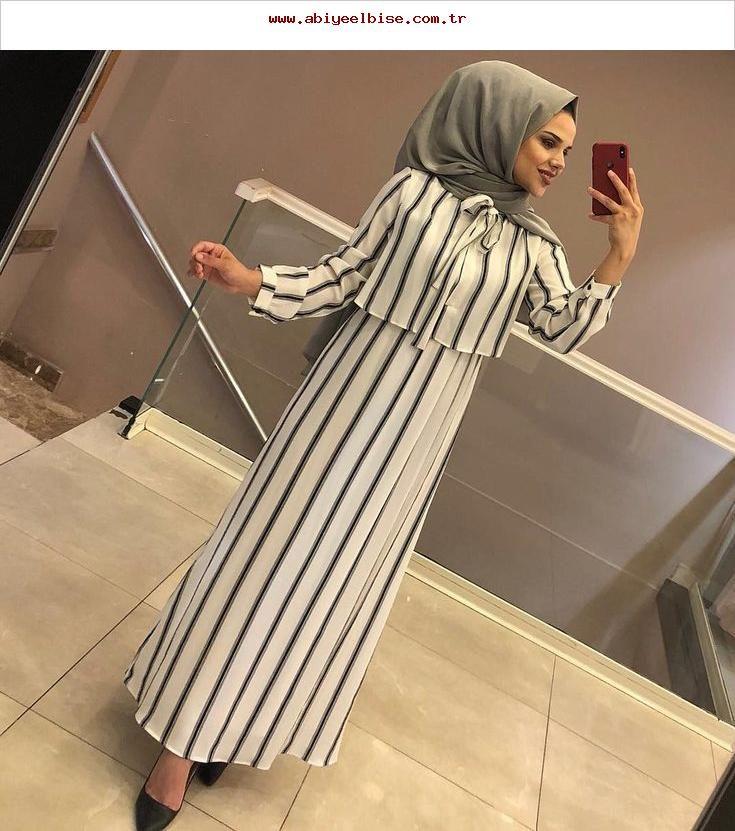 Tesettur Giyim Hijab Kiyafet Beautiful Elbise Gomlek Tesettur Hijab Chic Elbise Cizgili Elbise