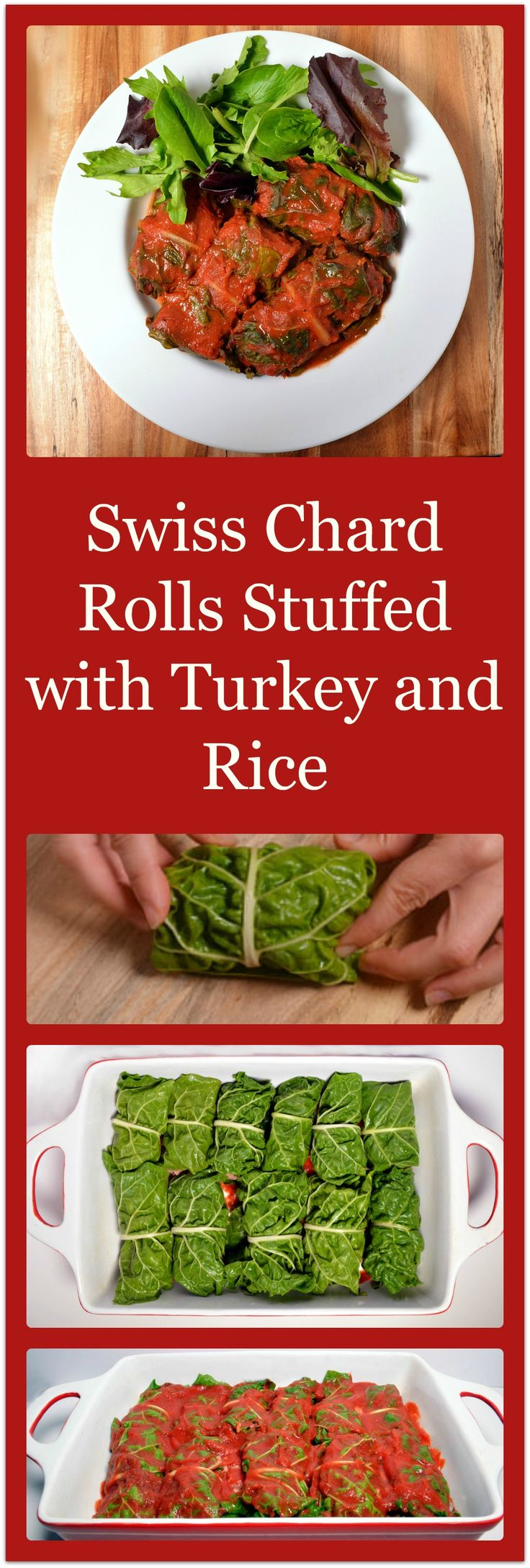 Swiss Chard Rolls Stuffed with Turkey and Rice - Gluten-free and Delicious! Great alternative to cabbage rolls. www.HealthyLifeRedesign.com