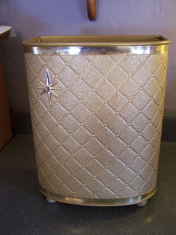 Vintage Gold Quilted Waste Basket Bathroom Trash Can Mid