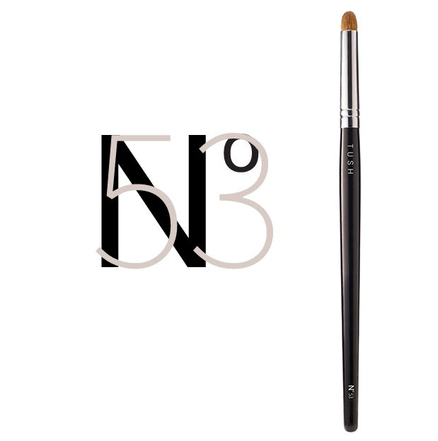 Nr 53 Extra Large Eye Contour Brush. This large compact dome shaped brush is made of natural bristles. Applies softly to the eyes, yet is firm enough to contour them with a dramatic, glamorous effect and lets you add a precise sweep of color in the eye crease. This luxurious large eye shader brush makes blending a breeze. Available at www.tushbrushes.com
