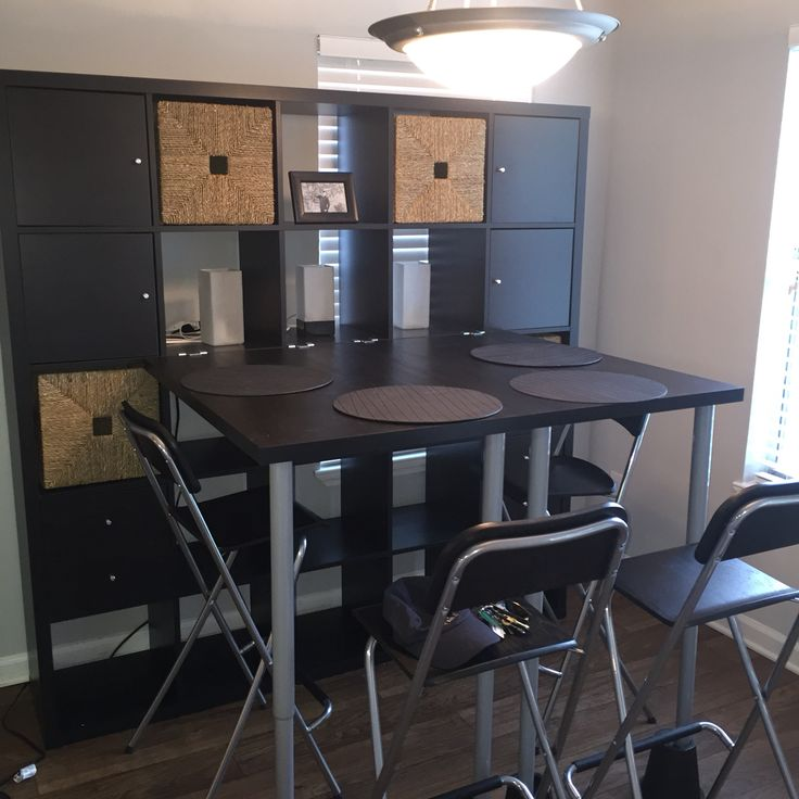 IKEA Kallax shelving unit in Black/Brown with Tables ...