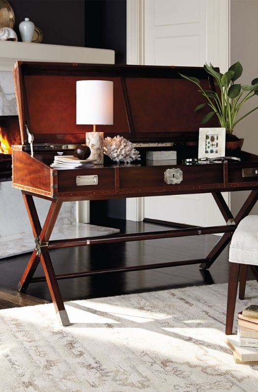 Bring the rich tradition of classic British campaign furniture to your study or library.  | Frontgate Interiors