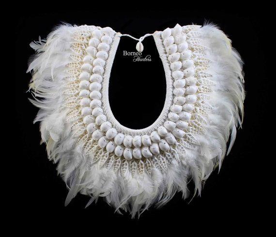 Weißen Schmuck Engel Feder & Shell Halskette weichen echten Federn Eleganz…