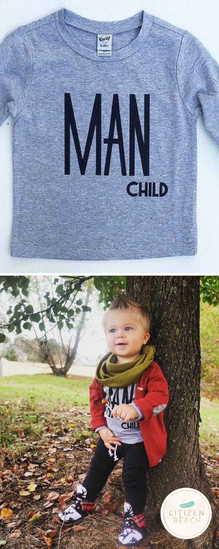 Explore unique graphic designed t-shirts for little boys and your baby like funny saying t-shirts and cool boho tees. SHOP http://www.citizenbeachapparel.com/product/man-child-kids-long-sleeve-graphic-tee/ | Kids Fashion