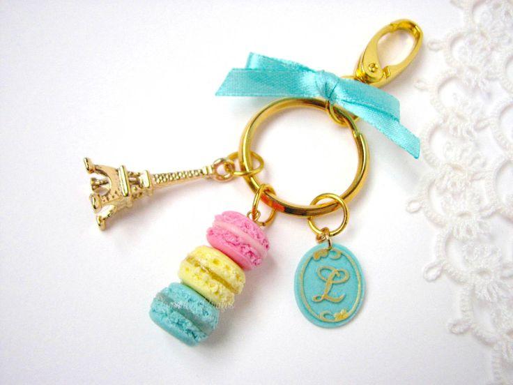 Tiffany Blue Bag Charm Monogram Keychain Charm With Trio