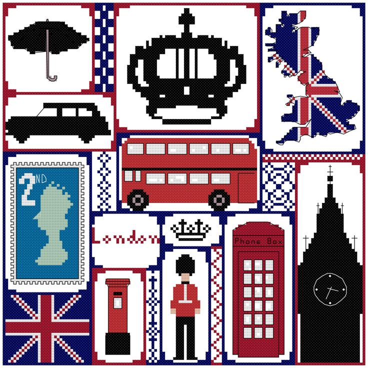 Cross stitch London, British sampler, counted cross stitch PDF pattern. Instant download. by CraftwithCartwright on Etsy