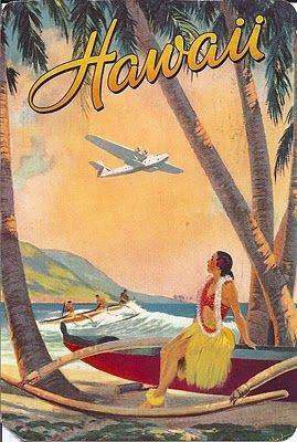 Vintage Hawaiian postcard ~ Girl sitting on outrigger canoe, watching the plane go by.