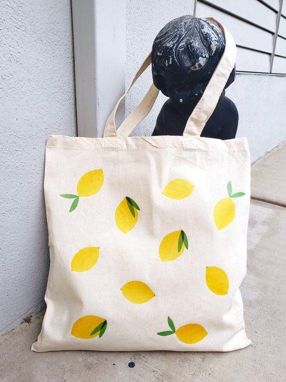 Lemon Tote  Lemon Tote Bag  Lemon Pattern  Pattern Tote  Beach Tote  Summer Tote  Beach Bag  Yellow Tote  Yellow Bag  Lemon Art