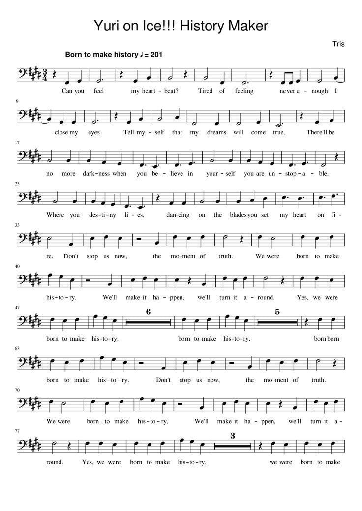Pin By Mifushika Todoroki On Yuri Yuri On Ice Anime Sheet Music